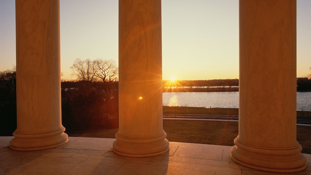 Show item 3 of 5. Viewing the sunset from the Jefferson Memorial in Washington DC