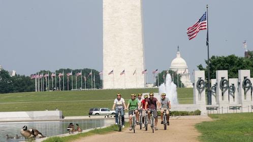 Biking along the Washington Monument in Washington DC