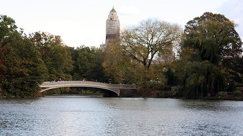 Central Park boat pond and bridge in New York City