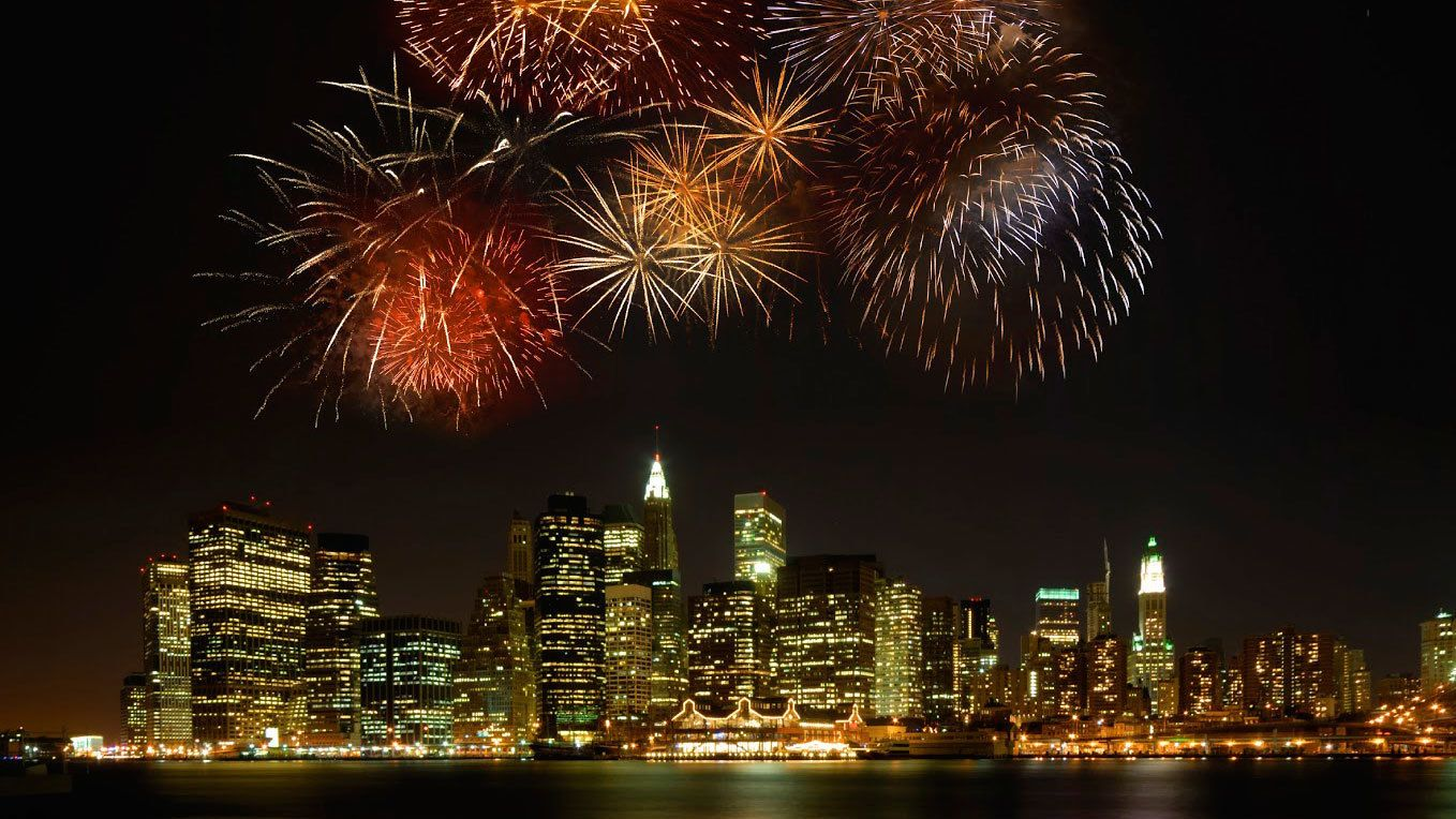 Fireworks over manhattan at night in New York
