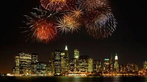 Fireworks over manhattan at night in New York