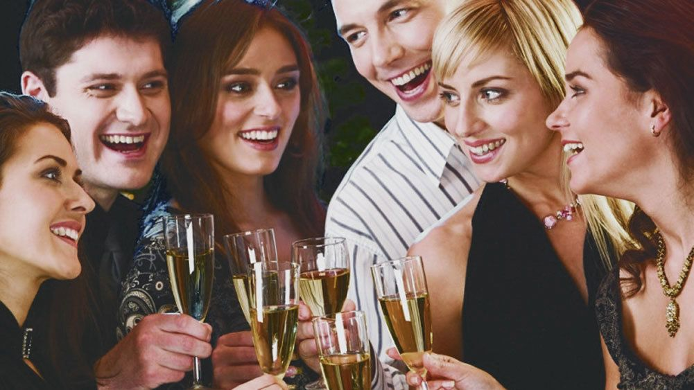 Group of friends with champagne