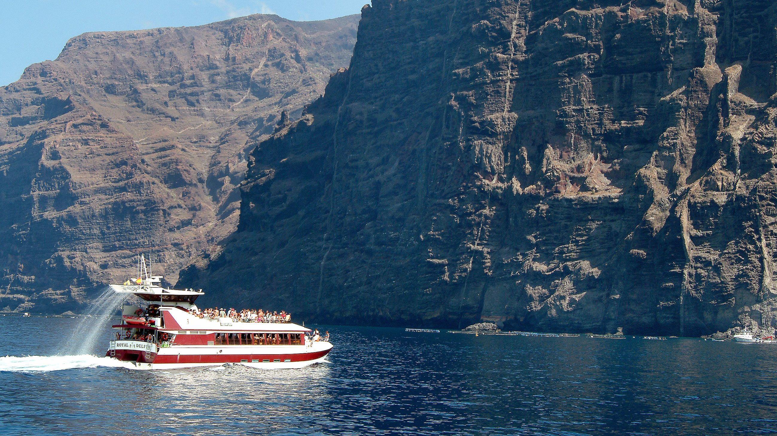 Double decker boat touring around Tenerife's coast