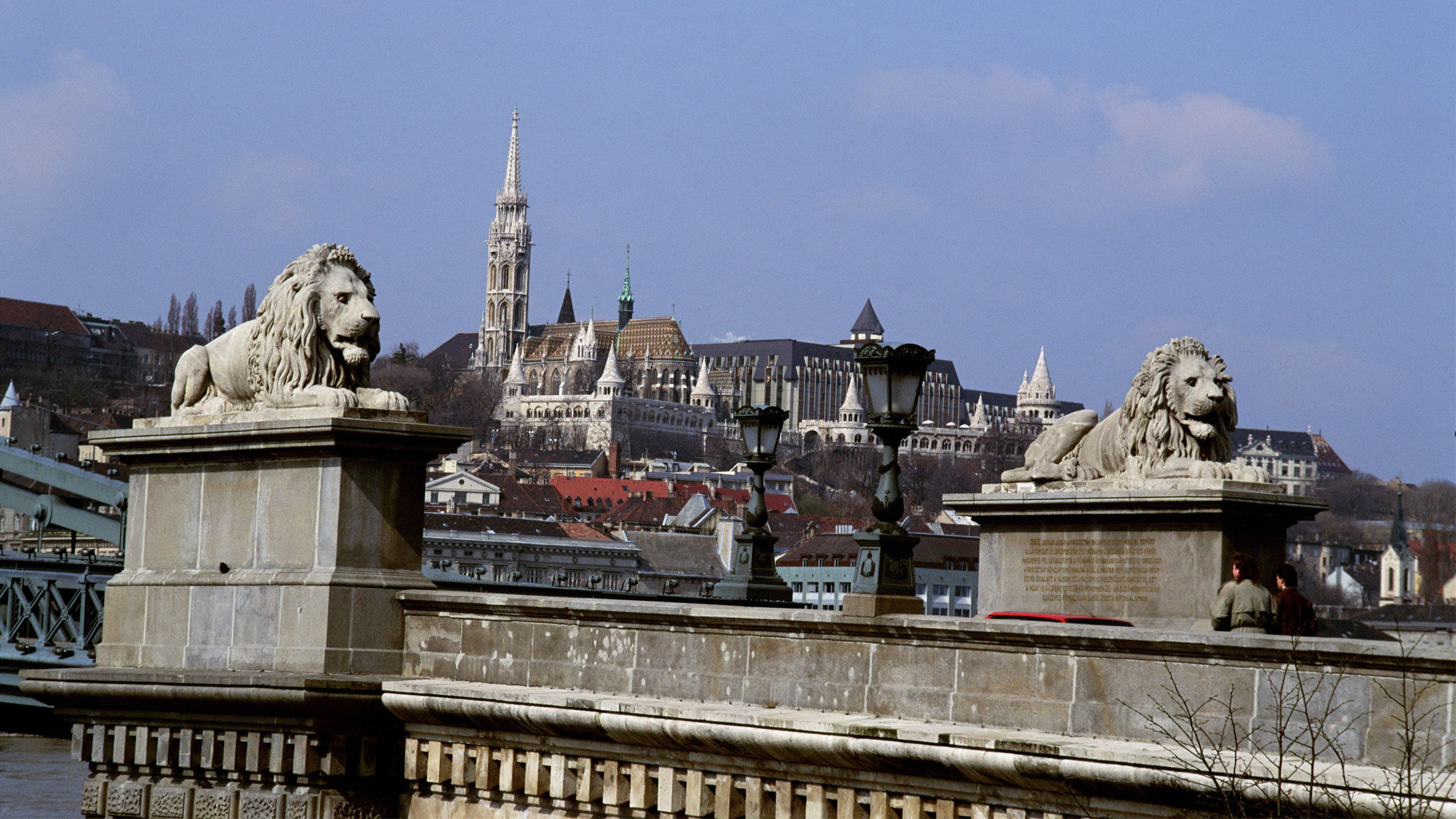 Lions statues perched atop a bridge in Budapest