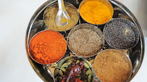 variety of Indian herbs and spices at cooking class in Melbourne