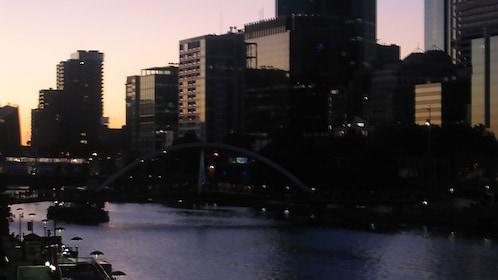 View of Melbourne from the Yarra River in the Paddle tour in Australia.