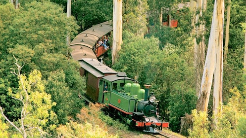 Stream engine on track in Yarra Valley in Australia.