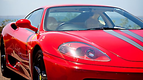 close up of red Ferrari in Melbourne