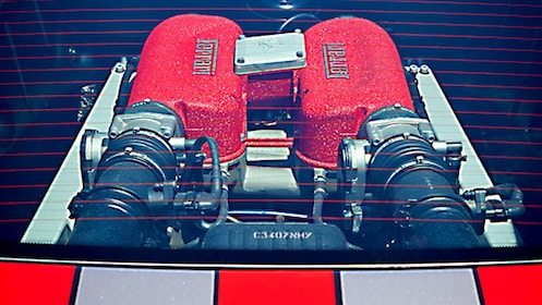 close up of Ferrari engine in Melbourne