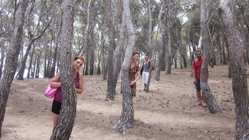 two men and two women hiding behind trees in grove in Barcelona