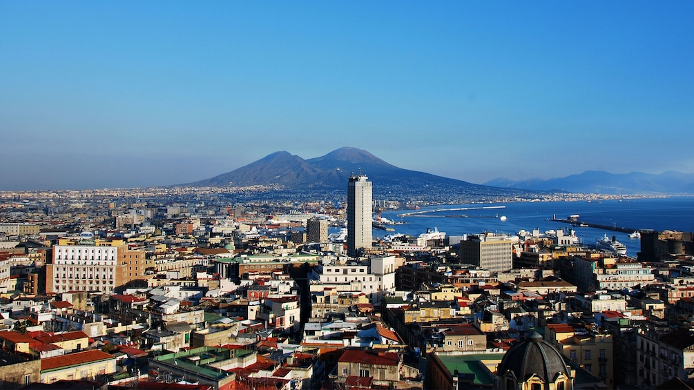 Naples skyline with Mt Vesuvius in the distance