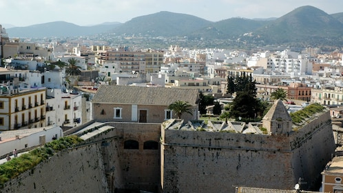 View of city and mountains in Ibiza