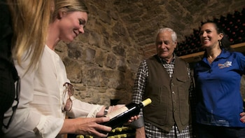 Show item 9 of 9. Learning about wine in a cellar in Florence