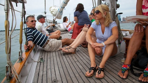 Sailing group lounging aboard the Shearwater