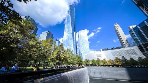 View of One World trade center and rejecting pool at the National September 11 Memorial Museum in New York