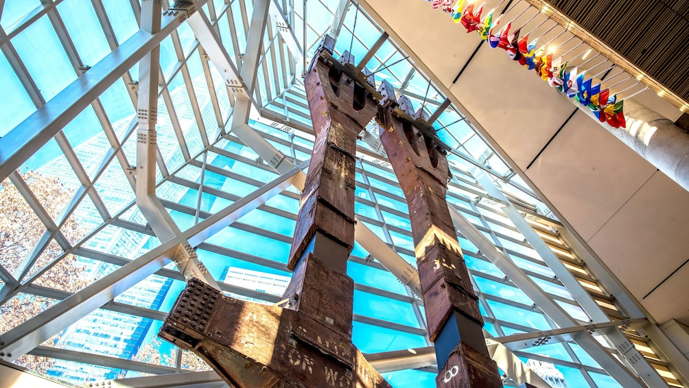 View of remaining supports at the National September 11 Memorial Museum in New York