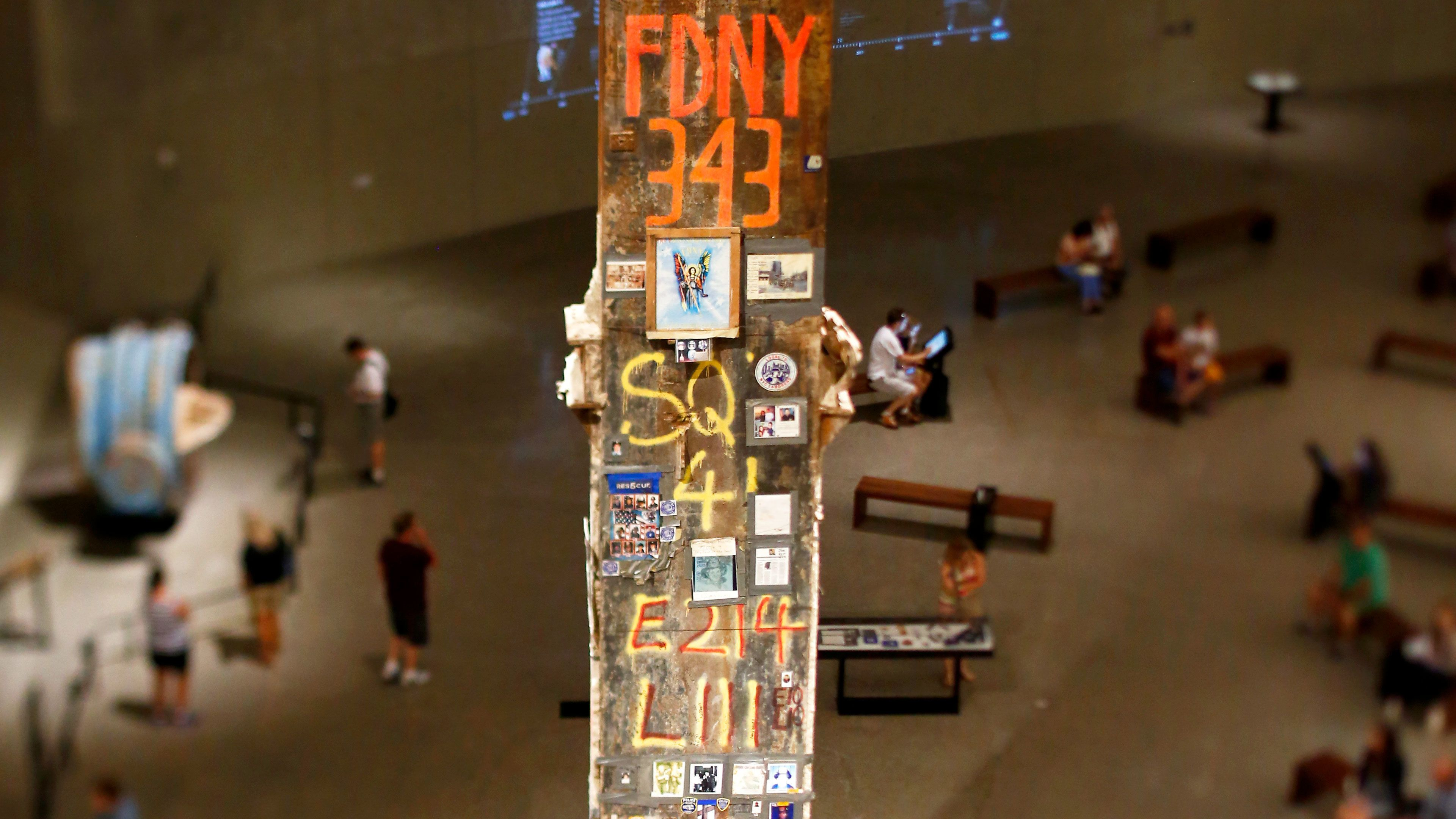 Old support from twin towers commemorating the emergency forces at the National September 11 Memorial Museum in New York