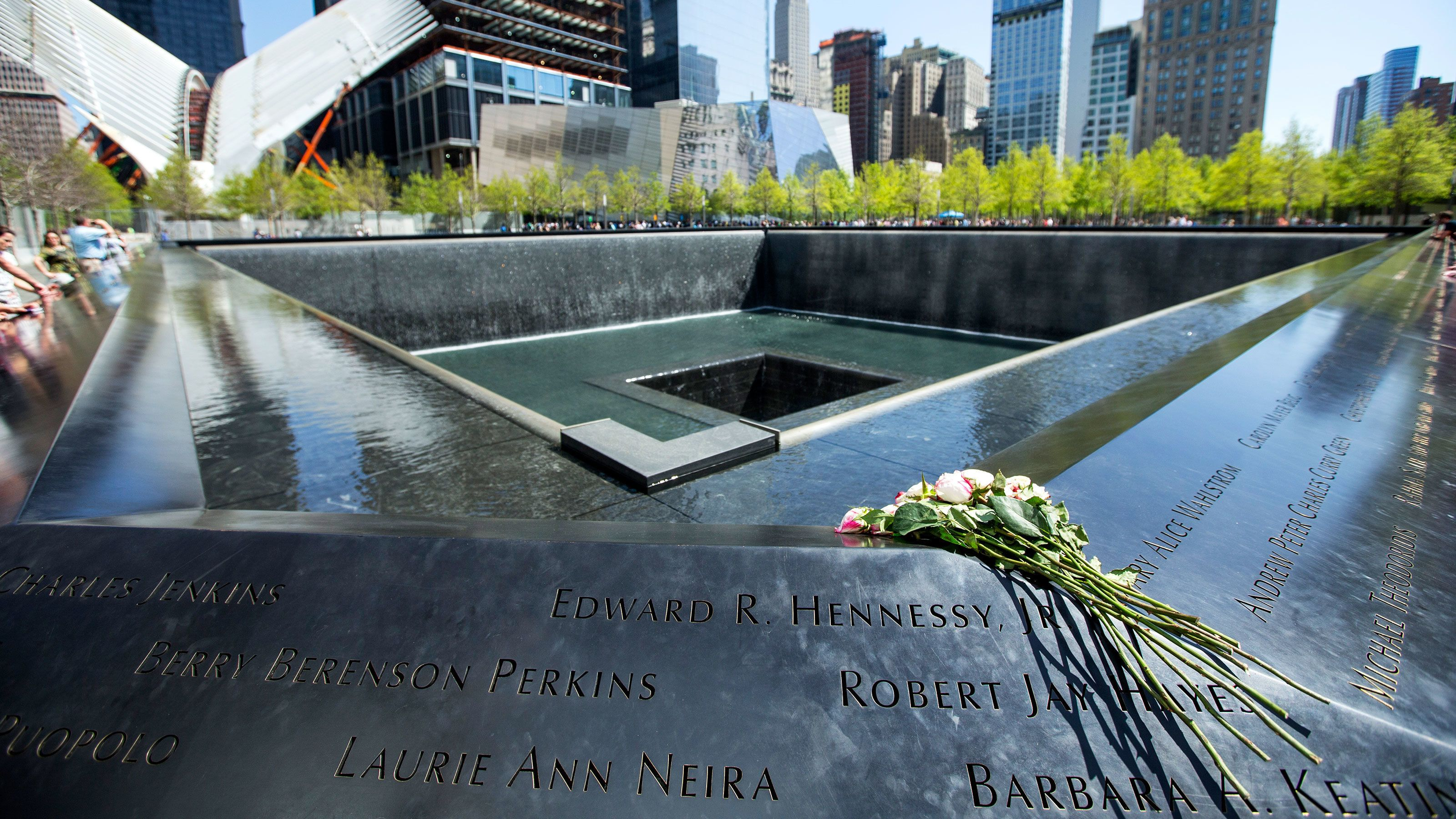 Close up of names on National September 11 Memorial in New York City