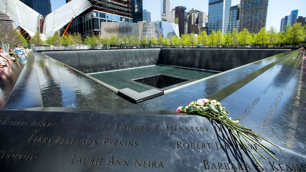 Åpne bilde 1 av 10. Close up of names on National September 11 Memorial in New York City