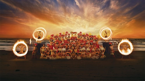Cultural performers gathered at sunset