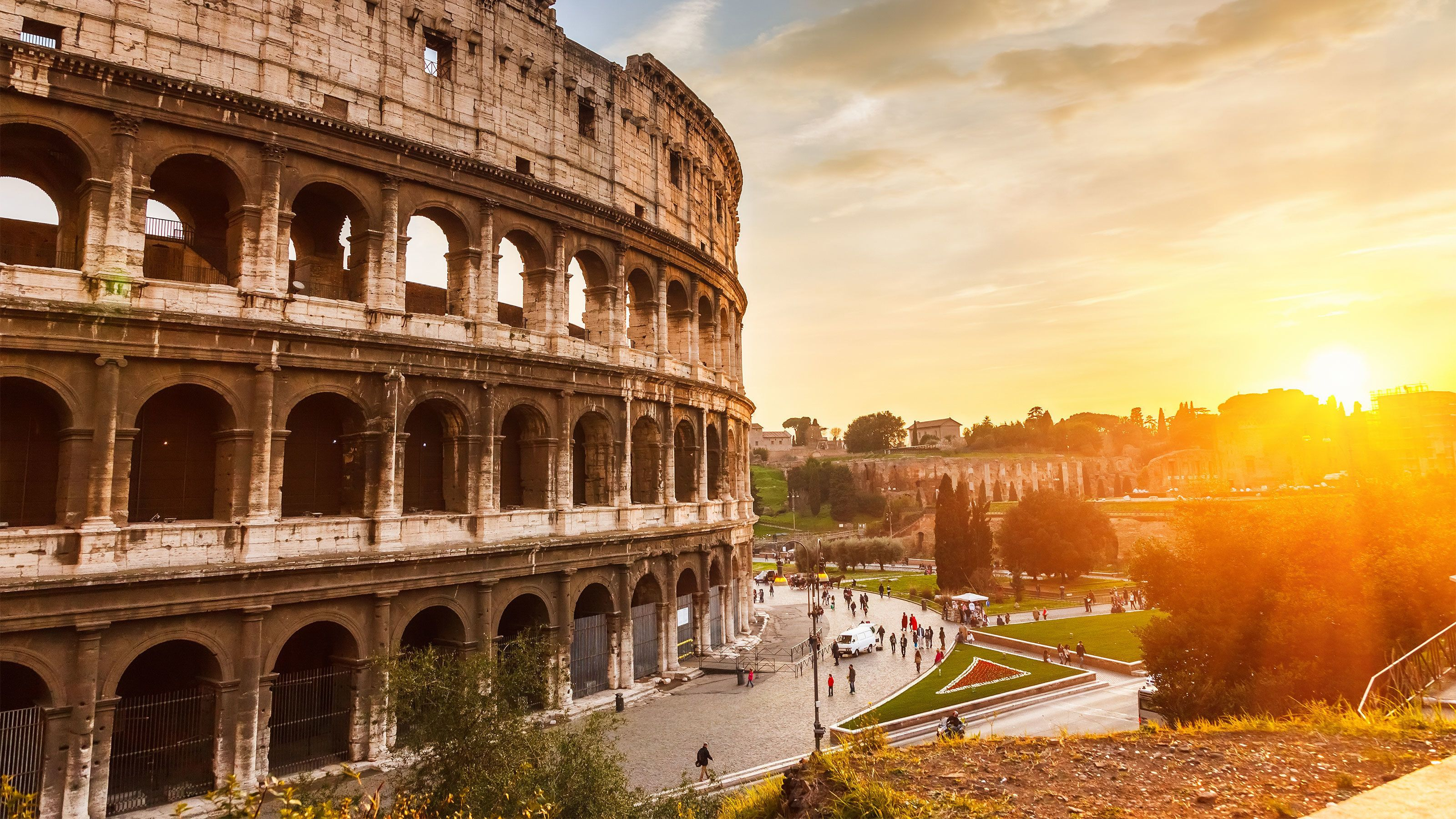 The Colosseum at sunset in Rome