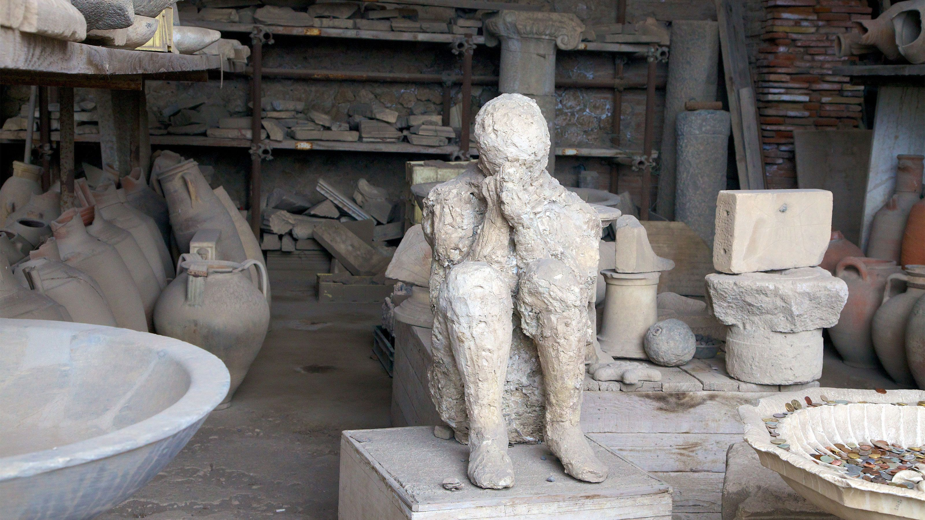 The preserved cast of one of the victims in Pompeii