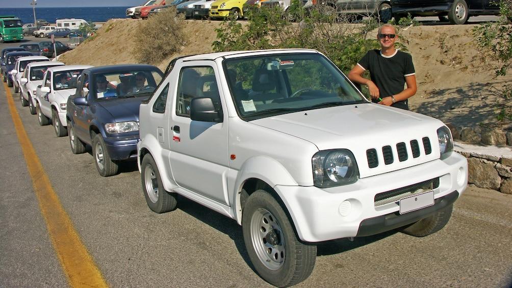 Line of jeeps on a tour on Mykonos