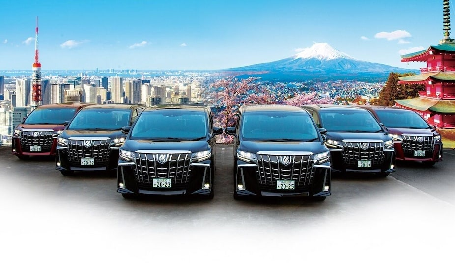 Show item 3 of 5. Fleet of SUVs with Tokyo in the background
