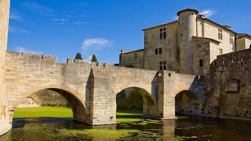 stone bridge expands over water in Chamargue, Marseille