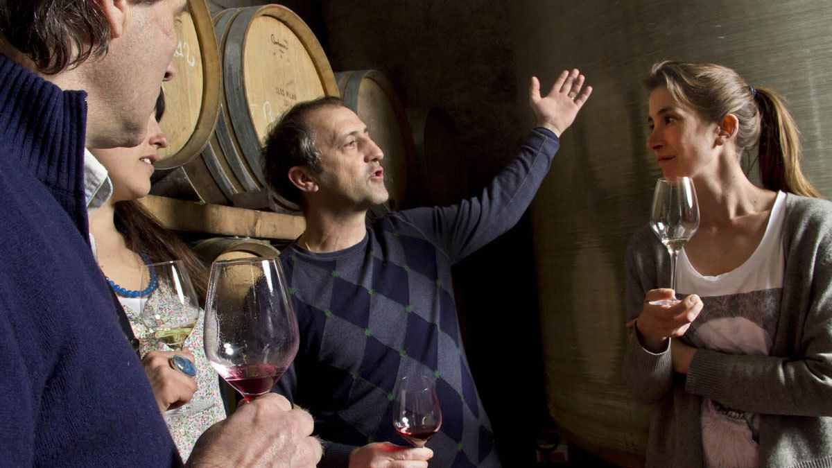 people discussing wine in cellar at winery in Marseille