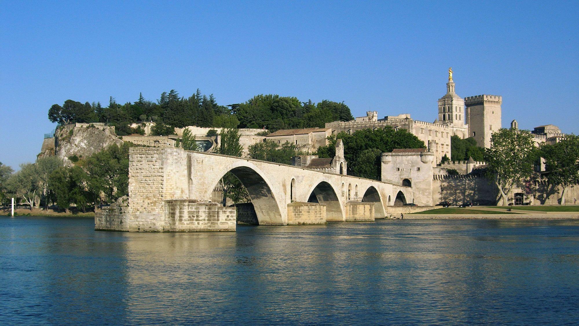 stone bridge and river near Avignon Papal palace in Marseilee