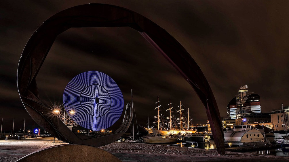 Show item 2 of 5. Gothenburg monument light art at night in Sweden