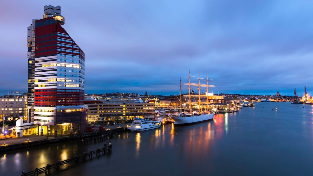 Show item 1 of 5. Gothenburg bay at night in Sweden