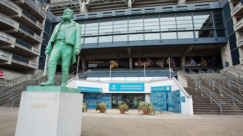 Statue at entrance to Croke Park Stadium & GAA Museum in Dubin Ireland.