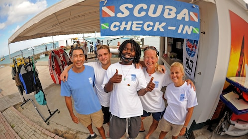 Scuba Diving group checking in at Saint Martin