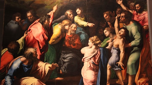 The Transfiguration painting by Raphael in the Pinacoteca Vaticana in Rome.