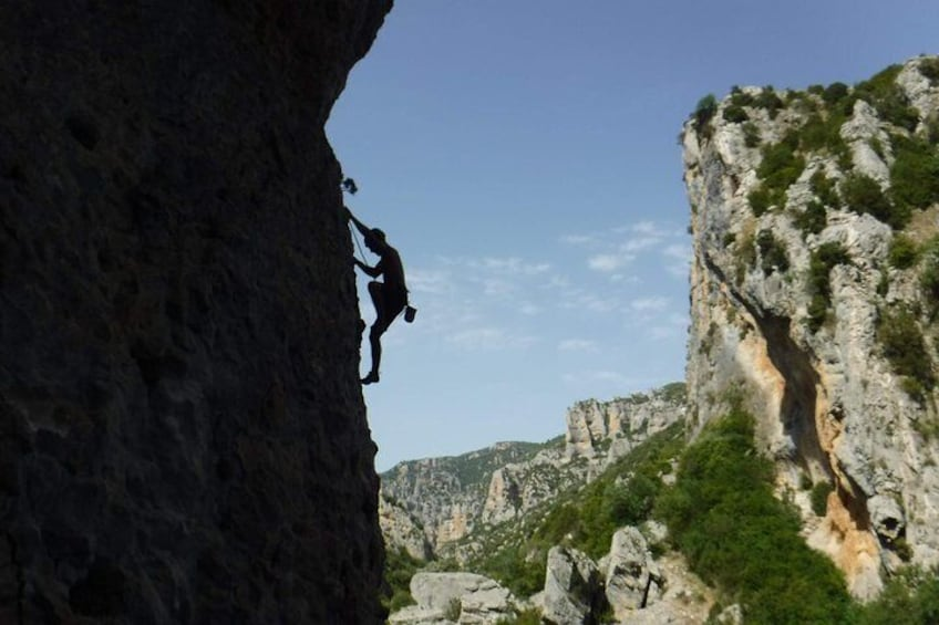 Climbing your first 7th track in the climbing course