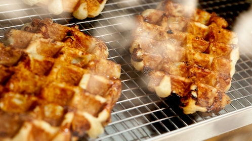 Waffle close up on cooling rack.
