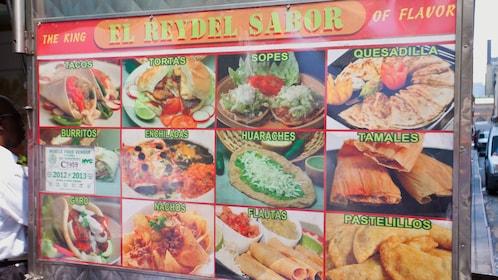 Mexican food menu on food cart