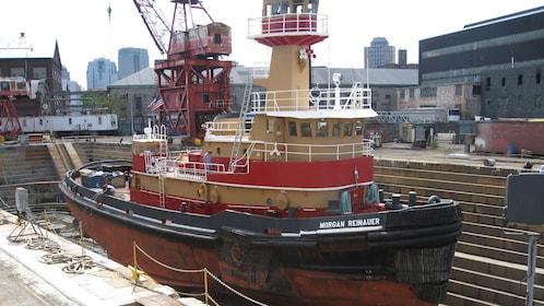 Tugboat in dry dock in Brooklyn Navy Yard