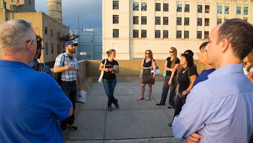 Tour group outside of Brooklyn Army Terminal
