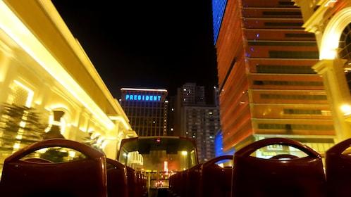 Downtown Macau at night.