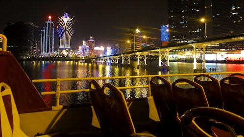 Lights of downtown Macau at night.