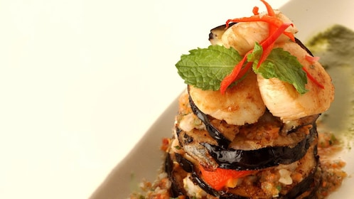 Eggplant and scallop tower from Blue Elephant Cooking School in Bangkok.