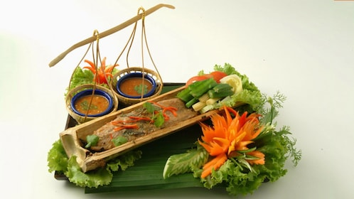 Fish served in bamboo from Blue Elephant Cooking School in Bangkok.