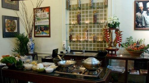 Cooking setup at Blue Elephant Cooking School in Bangkok.