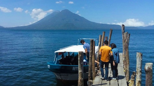 Boat moored to dock on Lake Atitlan