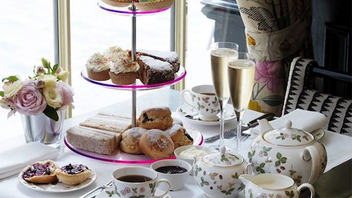 A tea setting featuring a variety of delectable foods from Anna's Afternoon Tea in London