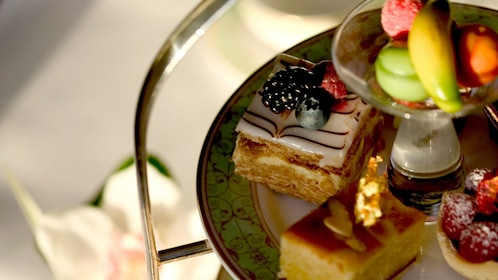 Desserts from a tea service at Anna's Afternoon Tea in London