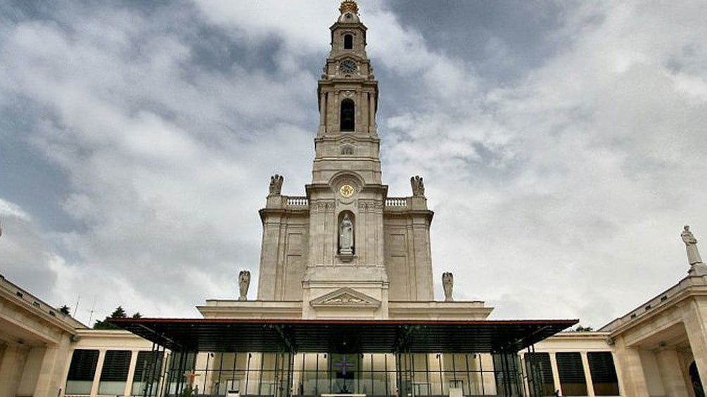 Looking up at the Shrine of Fatima